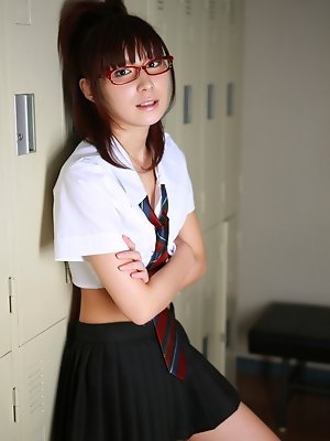Miu Nakamura Asian in hot school uniform shows ass in blue thong