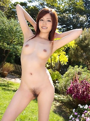 Runa Itou Asian rubs hairy cooter with panty and exposes it nude