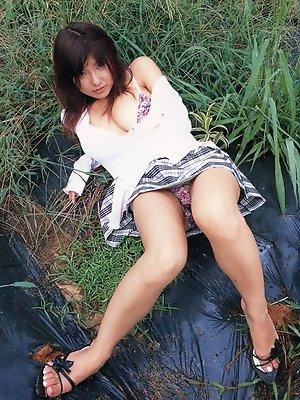 Cute little asian hottie removing her baby blue bikini bottoms