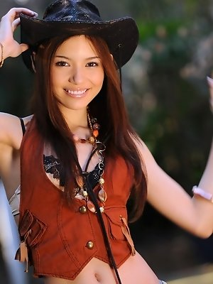 Rio is an Asian tramp who dresses like a cowgirl and likes to ride her guys